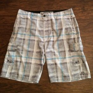 Ocean Current Other - Charcoal gray plaid shorts with aqua accent stripe