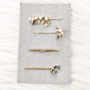 Anthropologie freshwater pearl hair clips