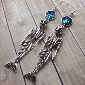 Abbie's Anchor Jewelry - Mermaid skeleton & mermaid scale dangle earrings