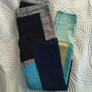 J Brand Super Skinny Color Block Jean