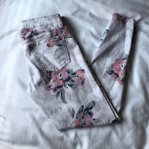 Floral pattern skinny jeans