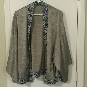 Grey and Navy Kimono Top