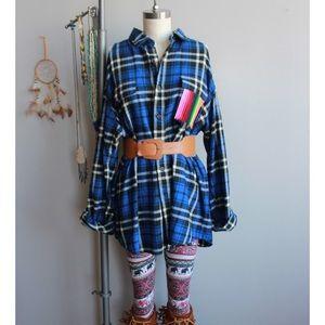 serape blue open cold shoulder ooak flannel tunic