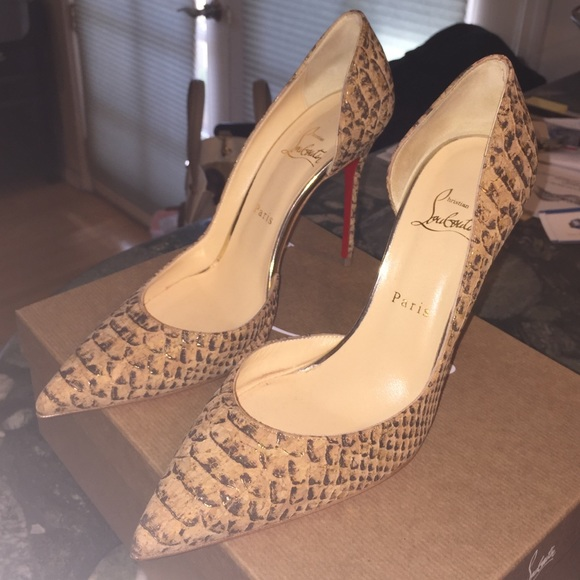 104187e38240 Christian Louboutin Shoes - Iriza 100 cork gold Christian Louboutin
