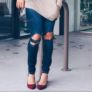 YMI Denim - Customized YMI indigo skinny jeans, sz S, distress