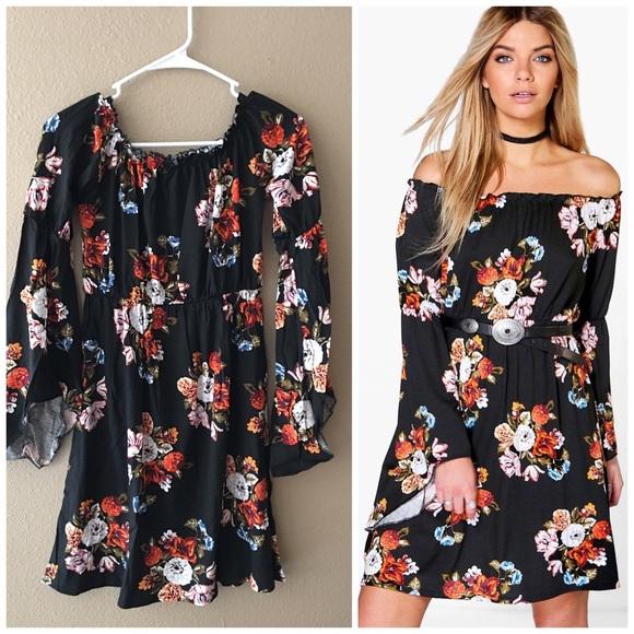 3ec040d654a Floral off shoulder bell sleeve dress