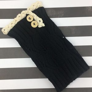 lil+lo Accessories - Black w/ Cream Detail Knit Boot Socks Toppers NEW