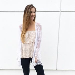 | new | white lace cardigan