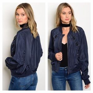 Jackets & Blazers - NWT Navy Blue Bomber Jacket