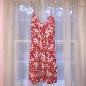 Red and white printed mini dress