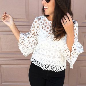 Chicwish Tops - Chicwish white crochet top