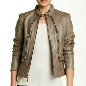 NWT Vince Camuto Zippered Leather Jacket