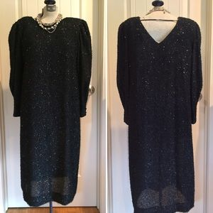 VTG• 80's LESLIE FAY BLACK PARTY DRESS