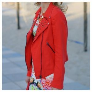 Zara Red Studded Motorcycle Jacket
