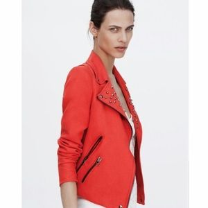 Zara Red Studded Motorcycle Jacket