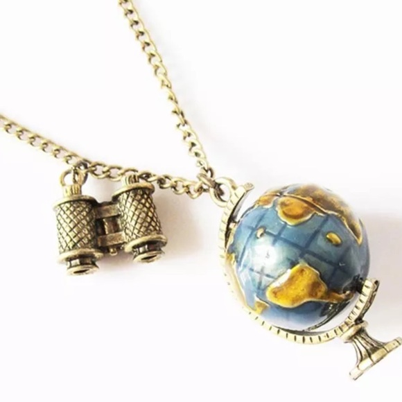 Jewelry globe necklace planet earth world map art pendant poshmark globe necklace planet earth world map art pendant gumiabroncs Image collections