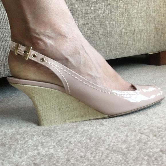 b55ae3f2a25f Emporio Armani Shoes - Genuine Armani Nude Patent Leather Wedge Heels