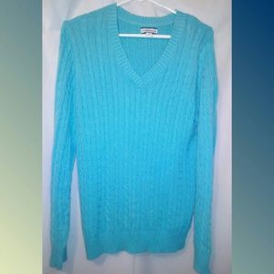 Croft & Barrow Turquoise Blue Cable Sweater~L