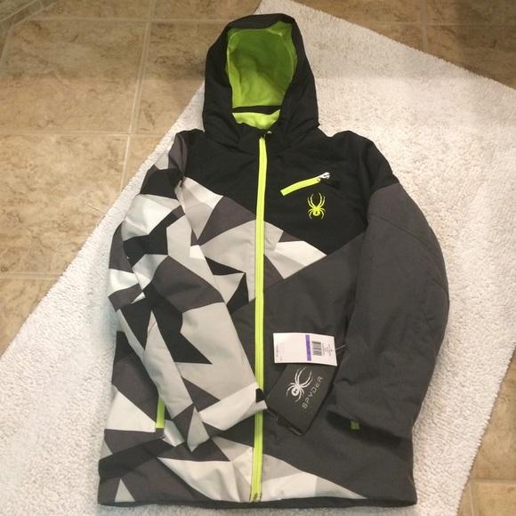 b6302b73a Spyder Jackets & Coats | Kyds Boys Ambush Jacket Black Grey Neon ...