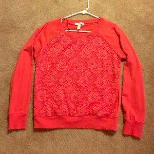 Coral lace sweatshirt