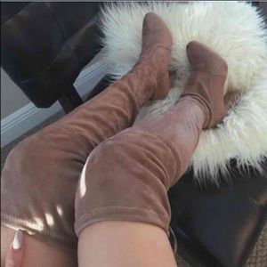 Light Taupe OTK fitted drawstring boots