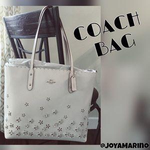 Coach Handbags - Coach Floral Appliqué Tote Handbag