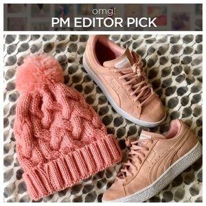 Accessories - | rose pink puff beanie |