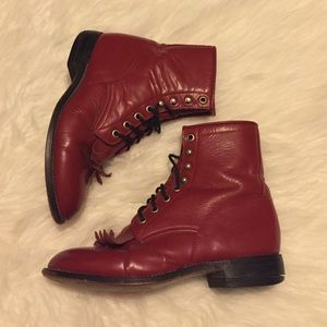 Vintage red ankle boots