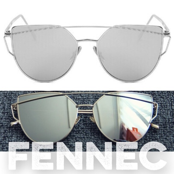 designer mirrored sunglasses f5ex  Cat Eye Silver Top Bar Mirror Sunglasses