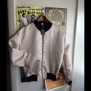 NWT Urban Outfitters Satin Bomber Jacket M L