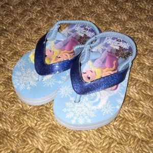 Disney Other - Disney Frozen Blue Elsa Anna Sparkle Flip Flops 7