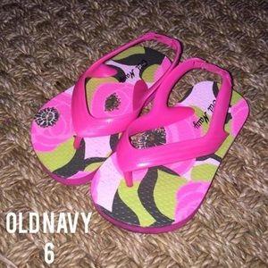 Old Navy Other - Old Navy Pink Brown Tropical Flower Flip Flops 6