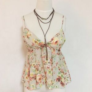 Honey Punch Tops - NEW Flowy flowing flared floral boho tank top