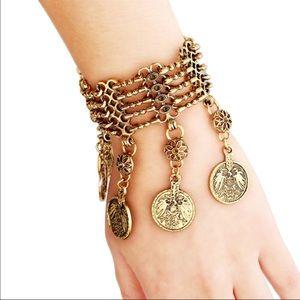 Antique Silver or Gold Vintage Boho Coin Bracelet