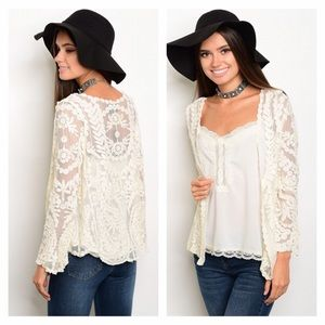 Sweaters - NWT Ivory Crochet Lace Cardigan