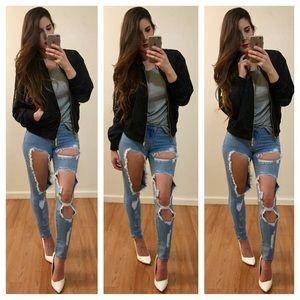 boutique Denim - Super Destroyed Skinny Ankle Jeans