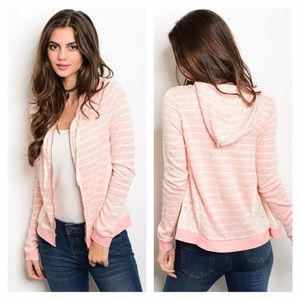 Sweaters - NIP Pink & Ivory Knit Lace Hoodie
