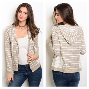 Sweaters - NIP Tan & Ivory Knit Lace Hoodie