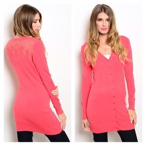 Sweaters - NWT Coral Lace Long Cardigan