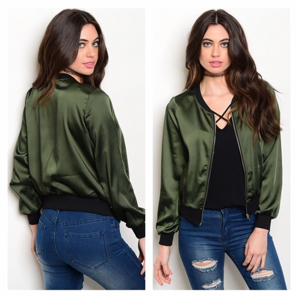 4cef2bca3 NIP Dark Olive Green Satin Bomber Jacket Boutique