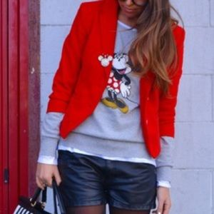 Red short cropped blazer