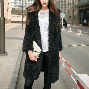 Jackets & Blazers - Black Faux Fur Coat