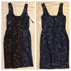 French Connection Navy & Black Sequin Dress