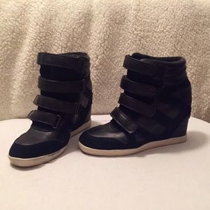 BDG Shoes - Black Strappy Wedge Sneakers