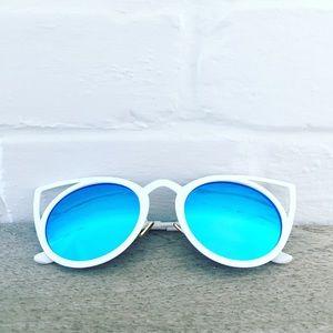 "Erica Rose Accessories - ""Jemima"" Sunglasses    Light Blue Mirror Cat Eye"