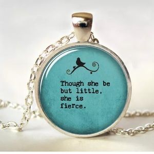 William Shakespeare Quote Glass & Brass Necklace