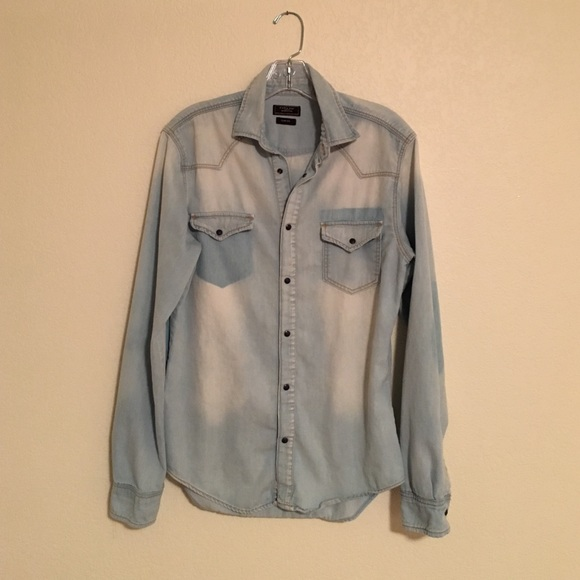 8e30902bac6 Zara Man Denim Couture jean shirt! M 5803131f13302a3f8907e4f4