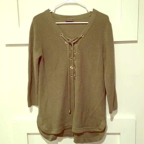 421c3470651024 Vince Camuto Sweaters | Forest Green Lace Up Tie Up Sweater | Poshmark