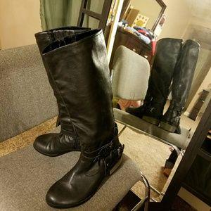 Women's Tall PU Leather Biker Boots