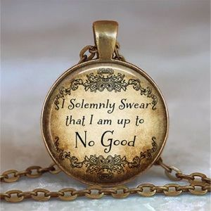 Harry Potter Quote Glass & Brass Necklace